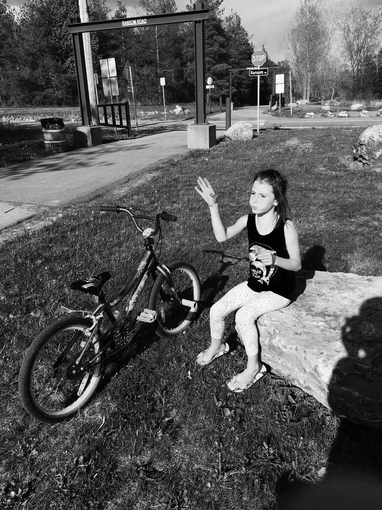Childhood Transportation Land Vehicle Mode Of Transport Full Length Elementary Age Lifestyles Leisure Activity Casual Clothing Bicycle Day Outdoors Bike Trail Lancaster Ny Black And White Transportation Daughter Pit Stop Biking Making Wishes Fresh On Eyeem  My Favorite Place