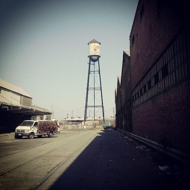 Graffiti Van! Old Abandoned Abandonedwarehouse Watertower graffiti brickwall shadow traintracks Losangeles LA