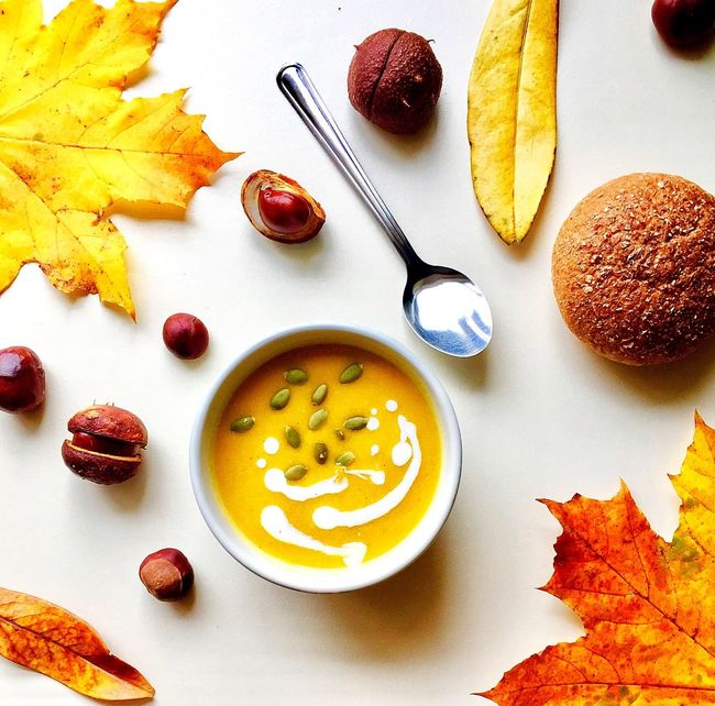 Soup Of The Day Pumpkin Soup Fall Colors Autumn Colors Autmn Food Bowl No People Directly Above Food And Drink Table Freshness Ready-to-eat Day Fall Beauty Autumn Leaves Autumnbeauty Autumn🍁🍁🍁 Freshness Tasty Foodphotography Warmth Soup Daylight Hungry