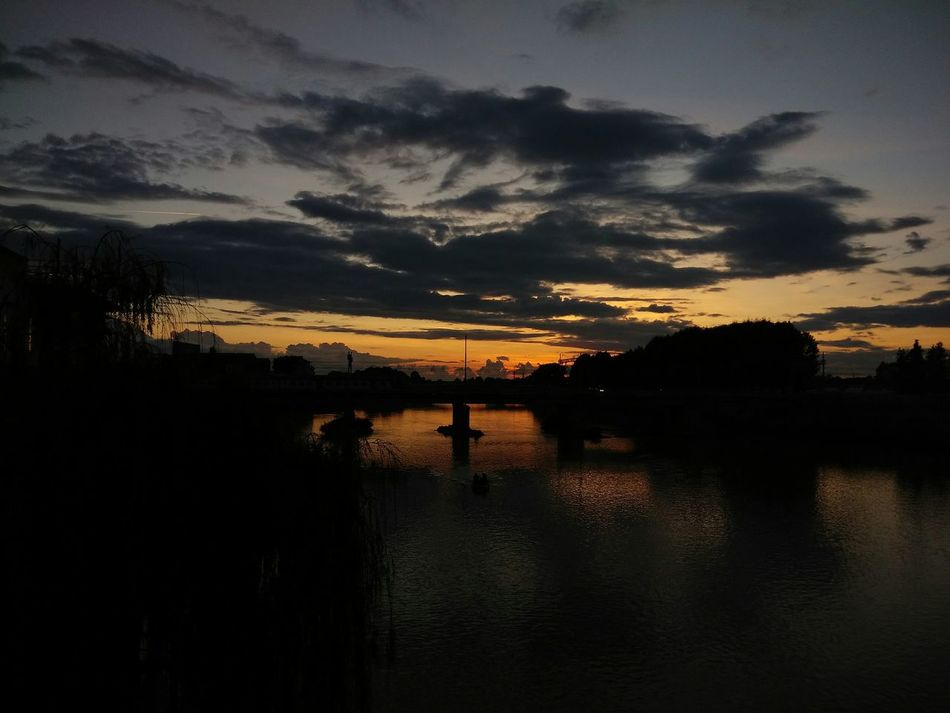Sunset Cloud - Sky Sky Tranquility Water Dramatic Sky No People Profound Water Reflections Rose Sky  Street Photography Night Bridge View Bridge Photography Arno River