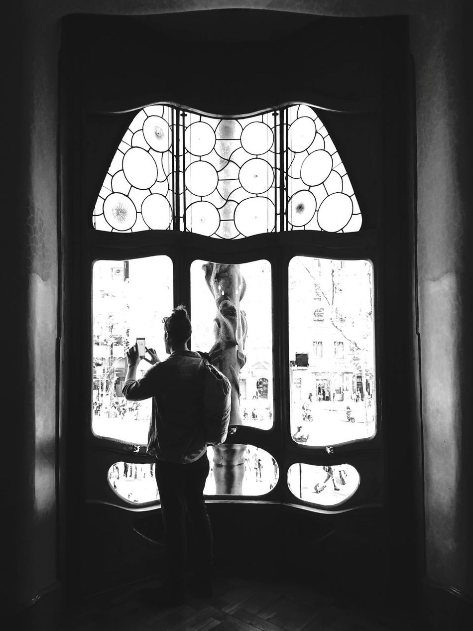 ... Freddy.... Barcelona Window Indoors  Full Length Standing Adults Only One Person Looking Through Window Day Only Men Adult People One Man Only Travel Destinations Built Structure Architecture Gaudì Architecture Work Gaudi Casa Batllo