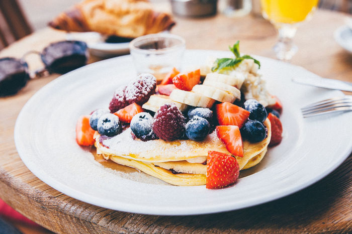Berry Fruit Breakfast Close-up Dessert Food Meal Pancakes Plate Ready-to-eat Strawberry Sweet Food