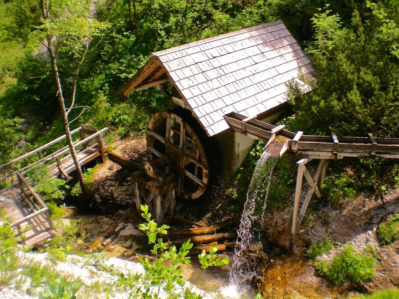 no people, water, day, outdoors, nature, watermill, tree, beauty in nature