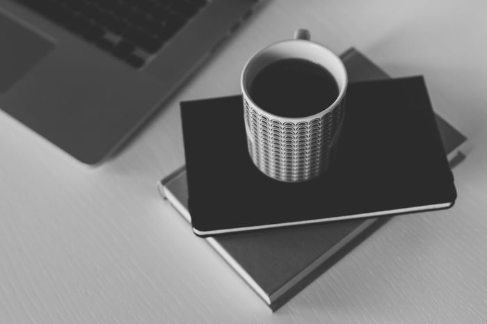 Start of the work day. Book Cup Drink Freelance Life Freelancing Indoors  Monochrome Mug Notebook Still Life Table Technology