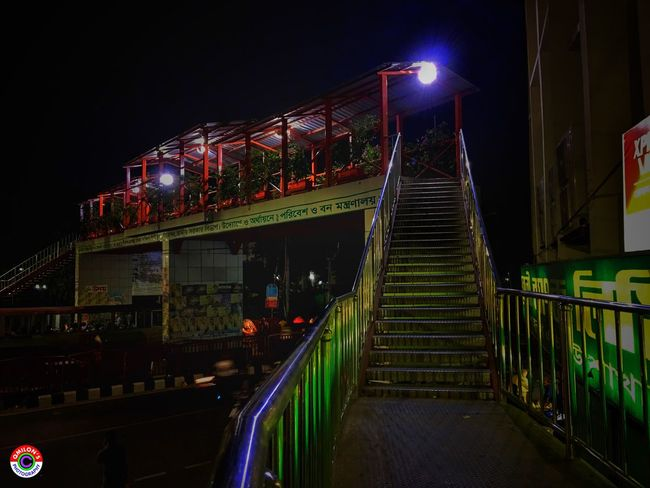 Steps And Staircases Low Angle View The Way Forward Steps Night City Life Footoverbridge Railing Staircase Bangladesh 🇧🇩 EyeEm Bangladesh EyeEm Best Shots Nightphotography Night Photography Structure Architecture