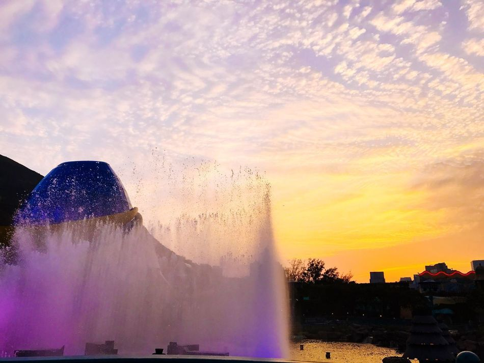 Southern City Water Sunset Sky Nature Beauty In Nature Cloud - Sky Outdoors Real People Scenics Tree Waterfall Day Oceanpark Blue No People