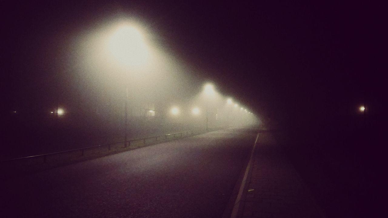 night, illuminated, the way forward, road, outdoors, transportation, no people, street light, fog, nature, sky