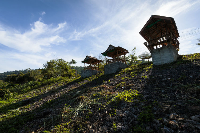 Beauty In Nature Cloud Cloud - Sky Day Deck Green Color Growth House Kiriwong Lake Landscape Morning Morning Light Nature No People Outdoors Scenics Sky Stone - Object Sunrise Tranquil Scene Tranquility Unseen Urban Vintage