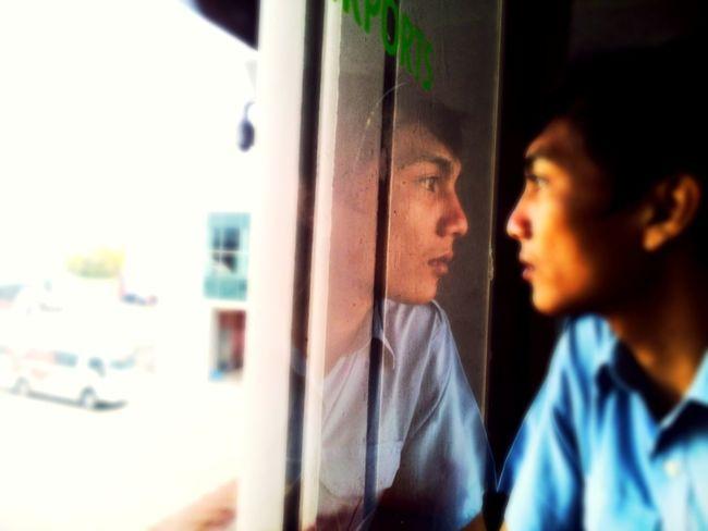 Self reflection Mirror Ngurah Rai International Airport Bali, Indonesia