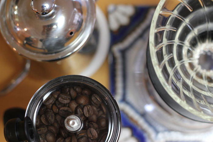 Close-up Cofee Time Day Favorite Time Food Food And Drink Hand Drip Coffee High Angle View Indoors  Large Group Of Objects Metal No People