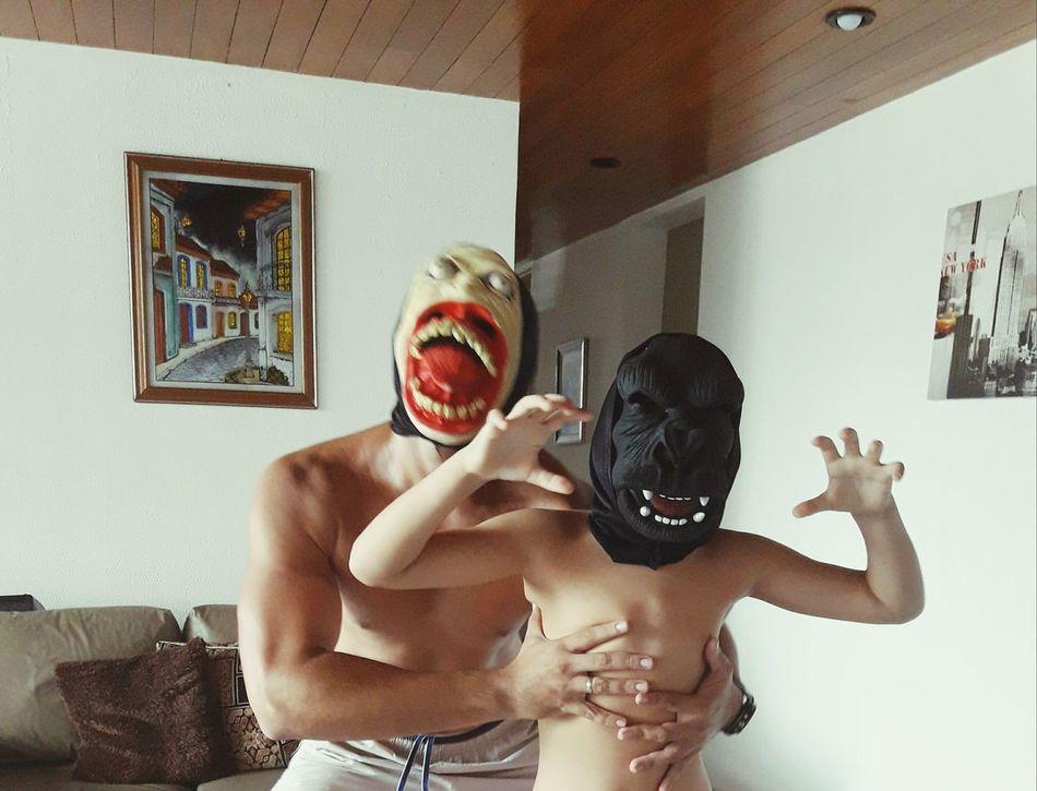 Human Body Part Two People Fun Men Body Care Monkey Monster Father & Son Fatherhood Moments Son