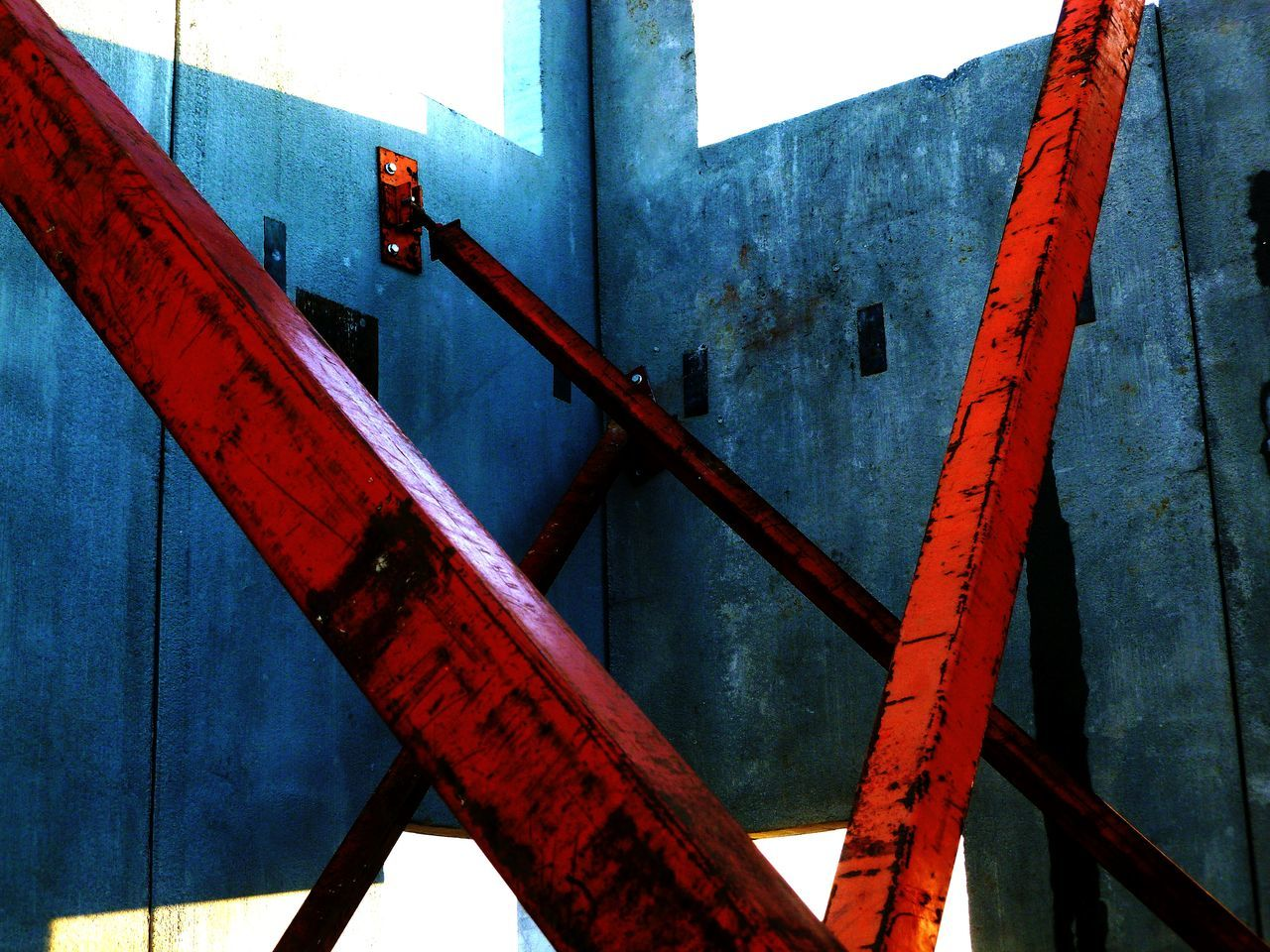 STRENGTH Blue Walls Building System CONCRETE WALL SUPPORT Concrete Walls RUSTED RED METAL Sky And Clouds Architecture Built Structure Close-up Connection Girder Metal Structural Pattern Windows And Doors