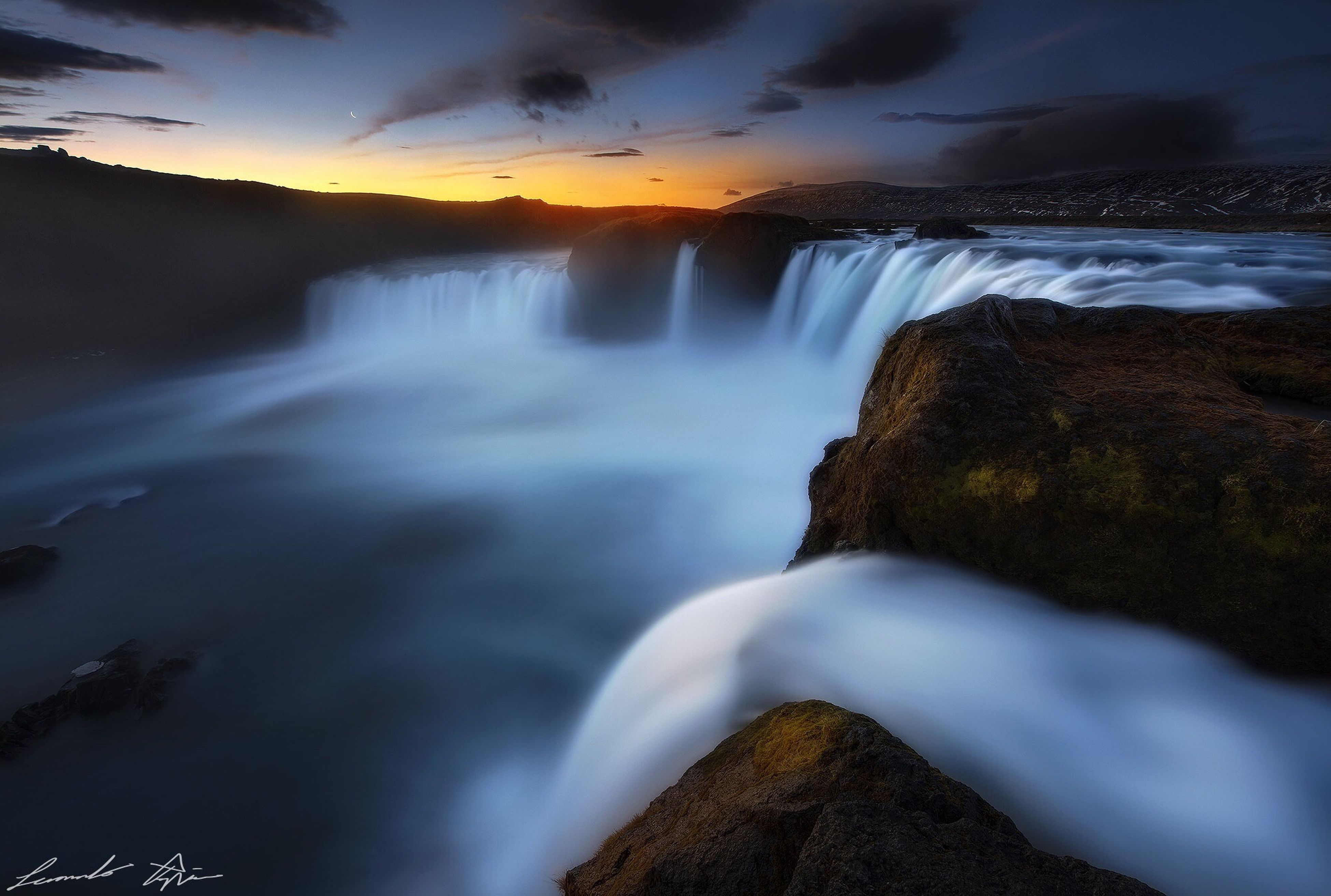 water, scenics, beauty in nature, long exposure, sky, motion, nature, cloud - sky, tranquil scene, waterfall, rock - object, flowing water, flowing, power in nature, tranquility, idyllic, sunset, mountain, river, blurred motion