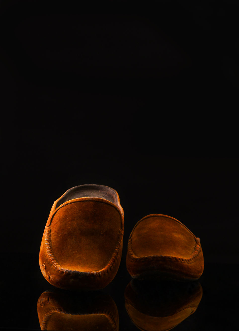 Black Background Brown Leather Shoes Shoes Studio Shot