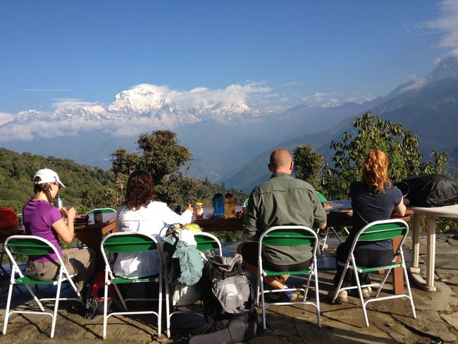 Traveling In Nepal Breakfast With A View Himalayas Annapurna Four People Starting A Trip Mountains Chairs Blue Sky Hikingadventures Traveling