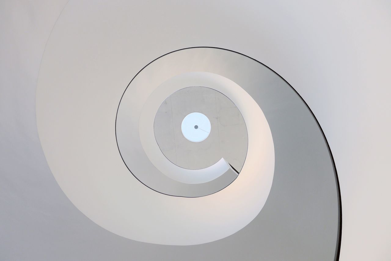 Twisted Tuesday No People Indoors  Low Angle View Architecture Close-up Day White Color WhiteCollection Round Spiral Spiral Staircase Spiral Stairs Looking Up Minimalist Photography  Minimalistic