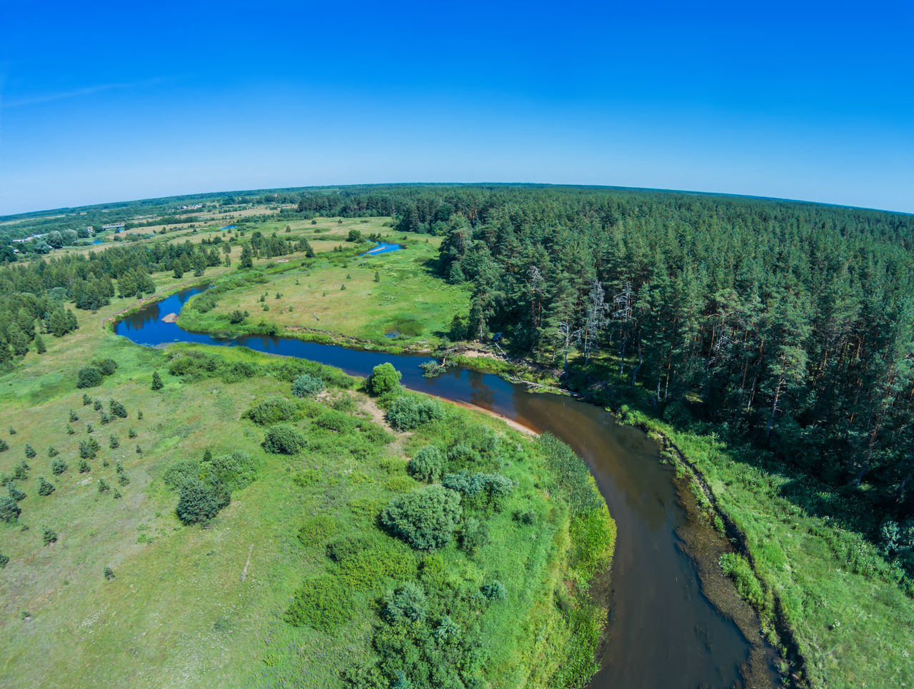 Over the river from Volchina village of Ivanovskoe Aerial Aerial Photography Aerial Shot Aerial View Blue Drone  Green Color Landscape Nature No People Outdoors River Russia Sky Summer Travel Destinations Traveling Volchina