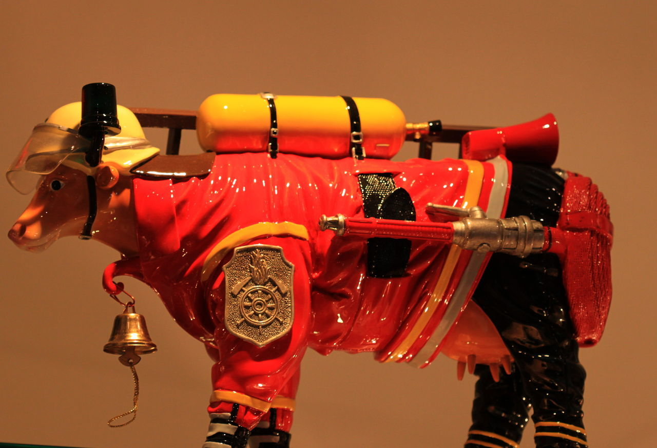 2012 Bell Carcassone Cow Firecow France Helmet Multi Colored Orange Background Red And Yellow Vibrant Color
