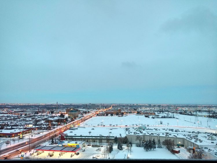 What I woke up to this morning Hello World Early Morning Snow Covered City Taking Photos Birds Eye View Cityscapes Wintertime Winter City Toronto Landscape Toronto City Lights Blue Sky Snow Covered Landscape City Lights