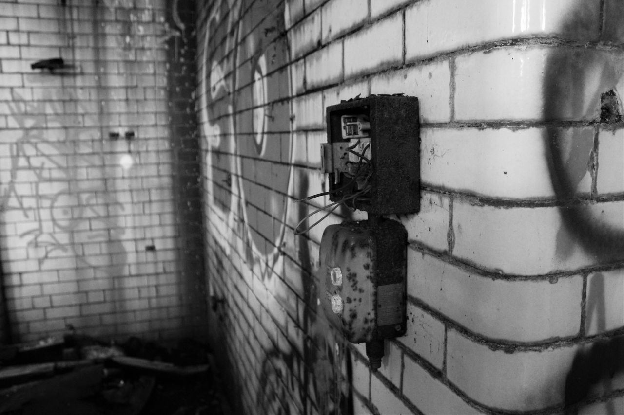 Abandoned Abandoned Buildings Brick Wall Bricks Bricks In The Wall Close-up Creepy Damaged Day Electrical Graffiti Graffiti Art No People Obsolete Old Switches Wall - Building Feature Weathered