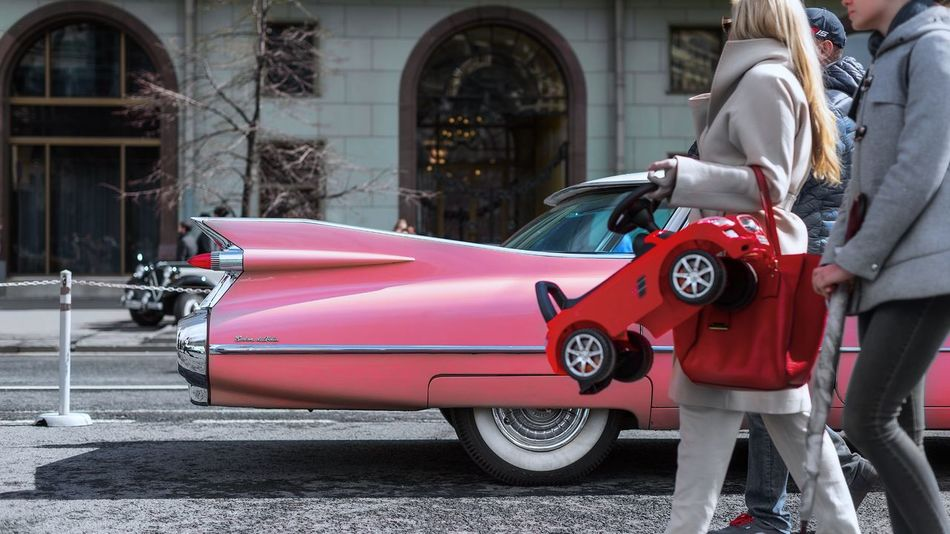 Architecture Building Exterior Built Structure Car City Day Elvis Land Vehicle Mode Of Transport Outdoors Pink Pink Color Real People Red Standing Street Transportation Women