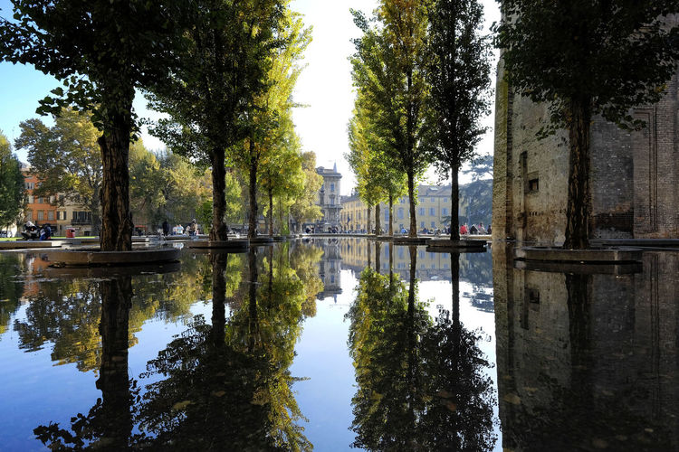 Architecture City Diminishing Perspective Incidental People Italy Leisure Time Nice Daz Parma Parma Italy Reflection Reflection_collection Reflections Spiegelung Spiegelung Im Wasser Trees Urban Scenery Water Showcase April
