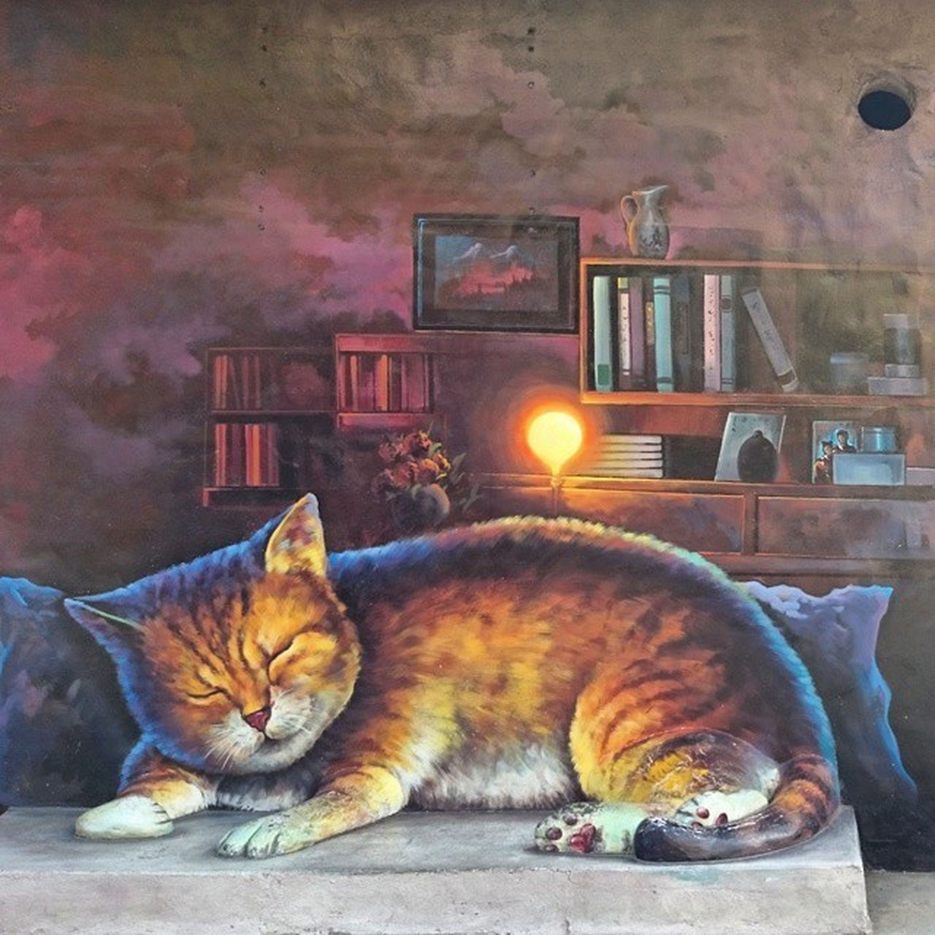 domestic animals, built structure, animal themes, architecture, building exterior, one animal, domestic cat, pets, mammal, house, cat, orange color, feline, outdoors, no people, sunset, relaxation, sitting, sunlight, street
