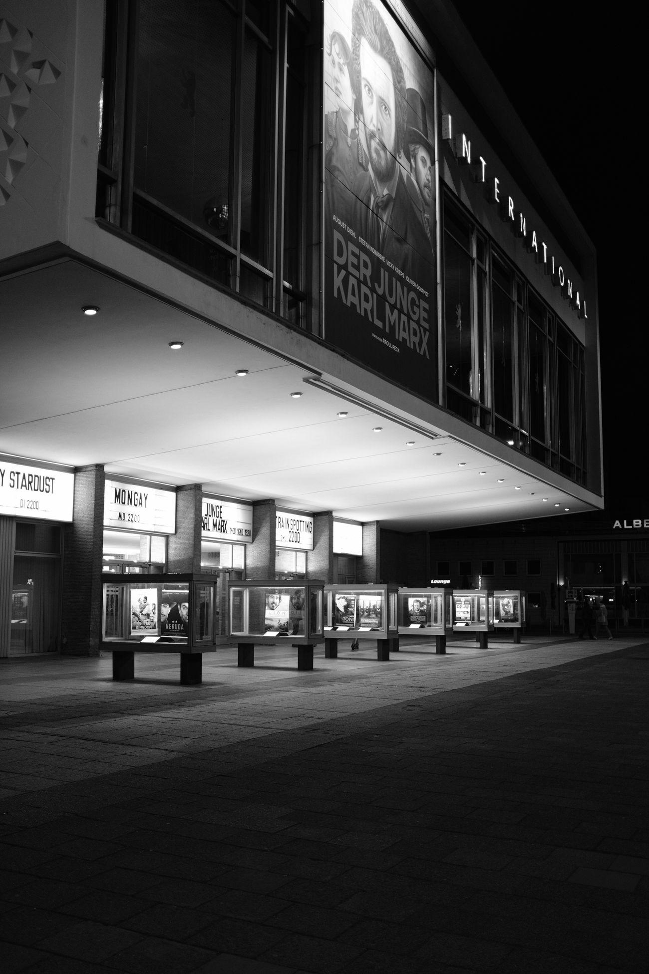 Kino International Architecture Berlin Black And White GDR Modernism Movie Theater Night Soviet Modernism X100f