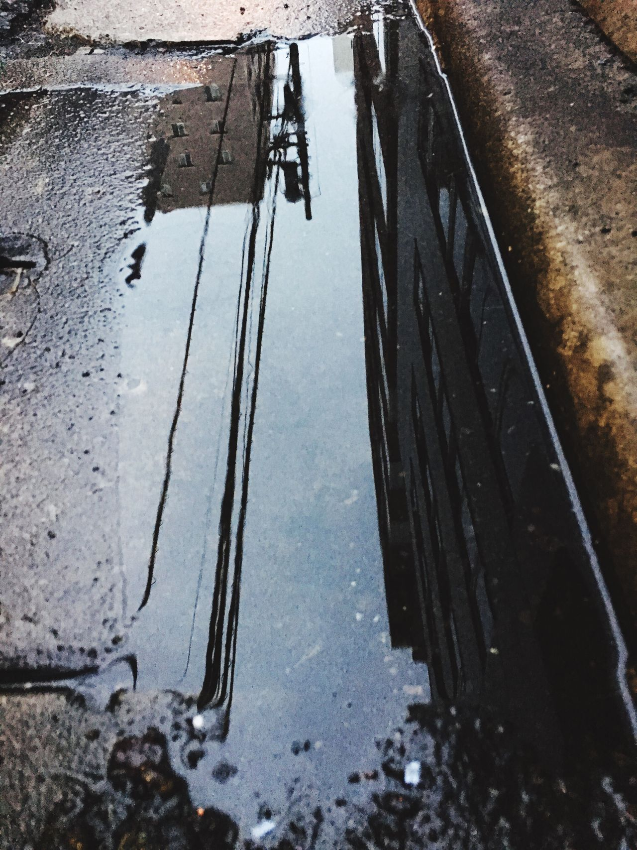 Water Reflection Puddle After The Rain