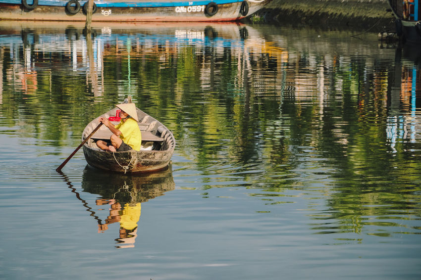 Beauty In Nature Boat Cayaking Day Hoi An, Vietnam Lake Nature One Person Outdoors Reflection Reflection River Swimming Water Waterfront Streetphotography Street