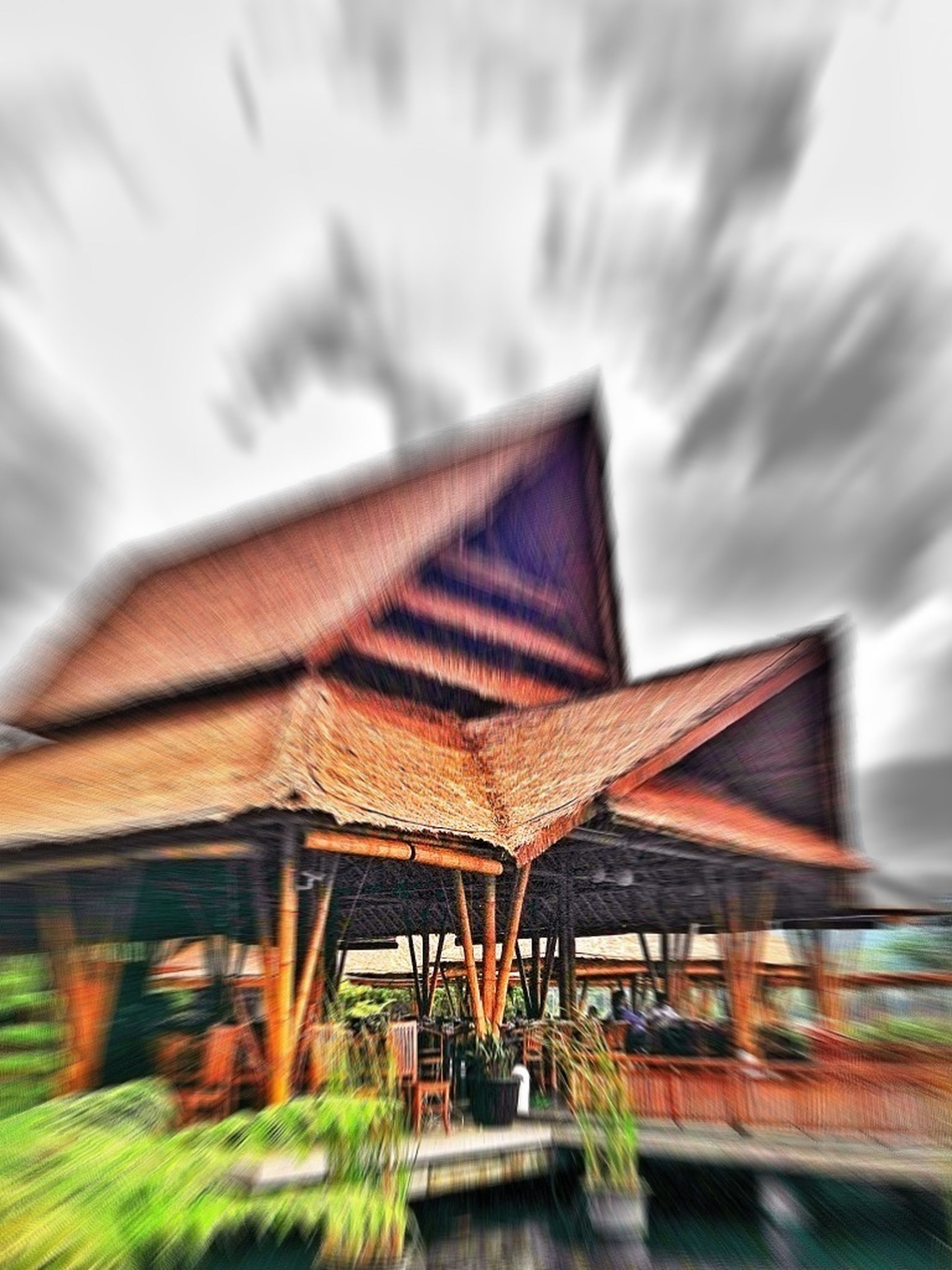 built structure, architecture, building exterior, focus on foreground, wood - material, sky, house, day, selective focus, outdoors, no people, roof, religion, wooden, plant, sunlight, red, close-up, nature, spirituality