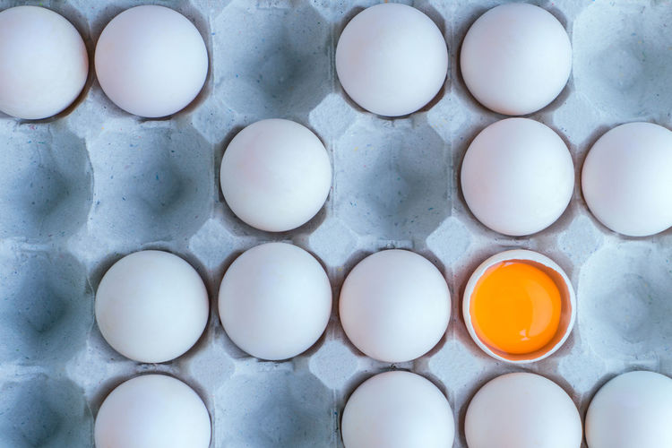 Backgrounds Breakfast Close-up Day Directly Above Egg Egg Carton Egg Yolk Eggshell Food Food And Drink Fragility Fresh White Eggs With Yolk On Cardboard Tray Freshness Full Frame Healthy Eating In A Row Indoors  No People Raw Food Standing Out From The Crowd