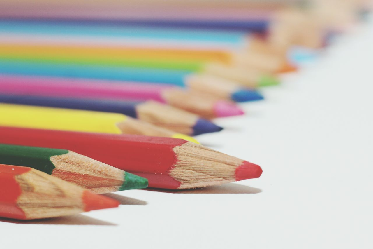 Colorful Coloring Pencils Colors Drawing Indoorshot Flash White Canvas Red Close Up