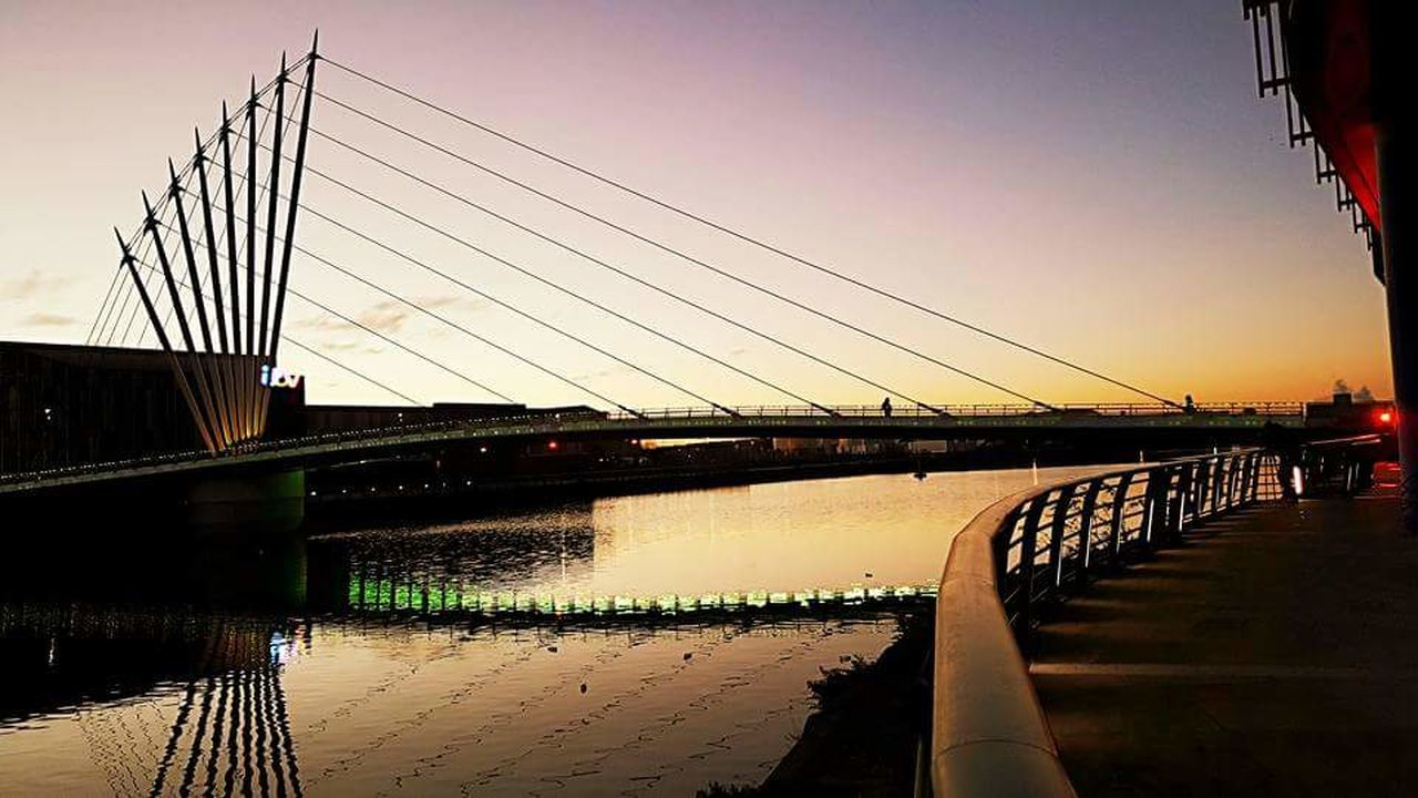 Sunset at Salford Quays Bridge - Man Made Structure Sky Sunset Built Structure Reflection Outdoors Water City No People Salford Media City SalfordQuays Salford Tranquil Scene EyeEmNewHere