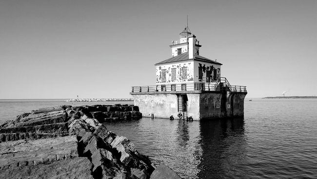 Monochrome Photography Water Scenics Lighthouse Oswego Lake Ontario Jetty Shore