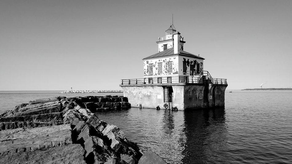 Monochrome Photography Water Scenics Lighthouse Oswego Lake Ontario Jetty Shore