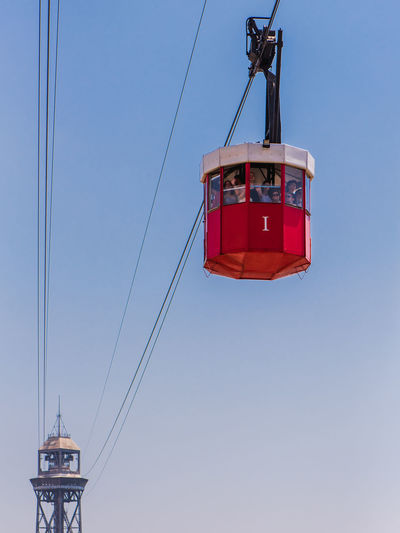 Barcelona Cable Car Hanging Tourist Tourist Attraction  Transportation Travel Travel Photography Traveling Travelling Trip View View From The Window... Cable Clear Sky Hanging Landmark Low Angle View Outdoors Red Tourism Travel Destinations Traveler Travelphotography View From Above