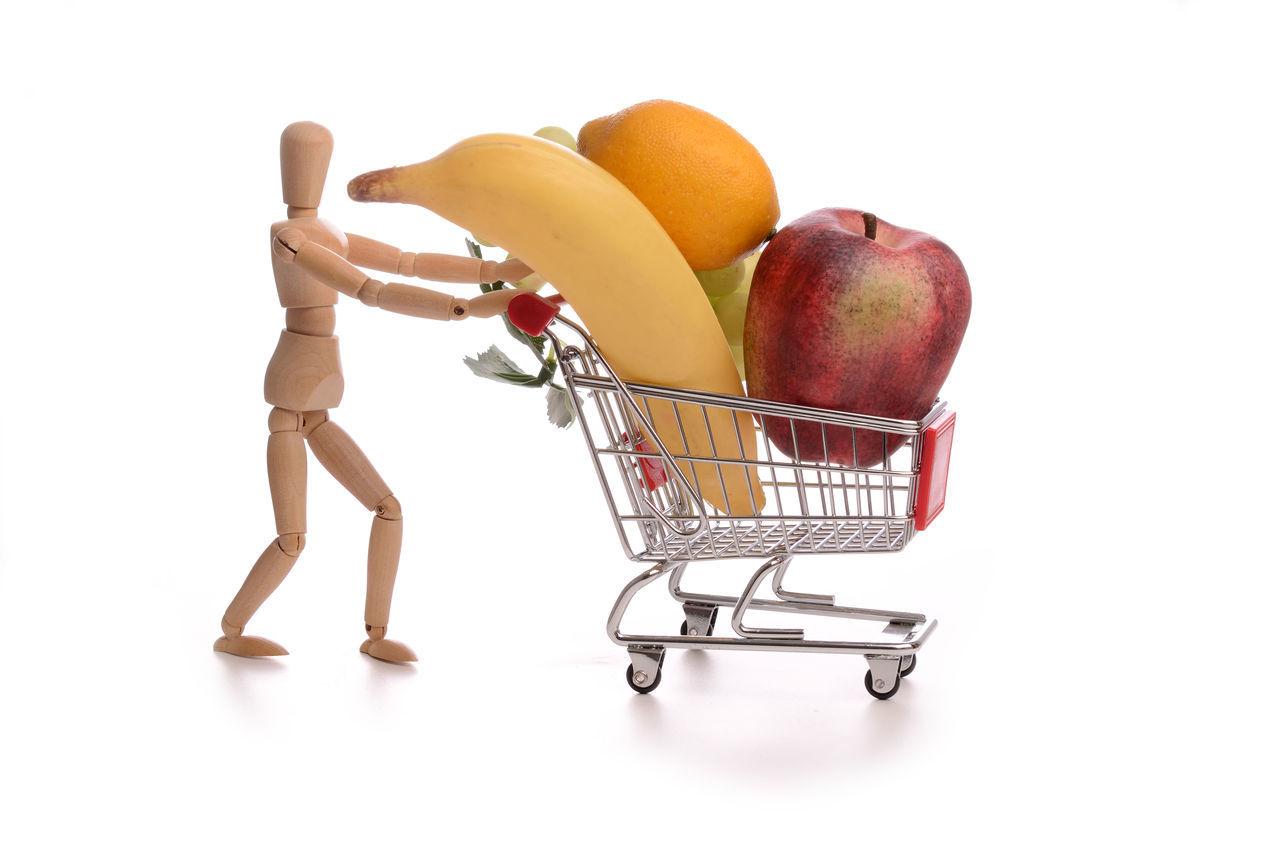 fruit, apple - fruit, healthy eating, food, food and drink, studio shot, white background, freshness, consumerism, shopping cart, no people, supermarket, day