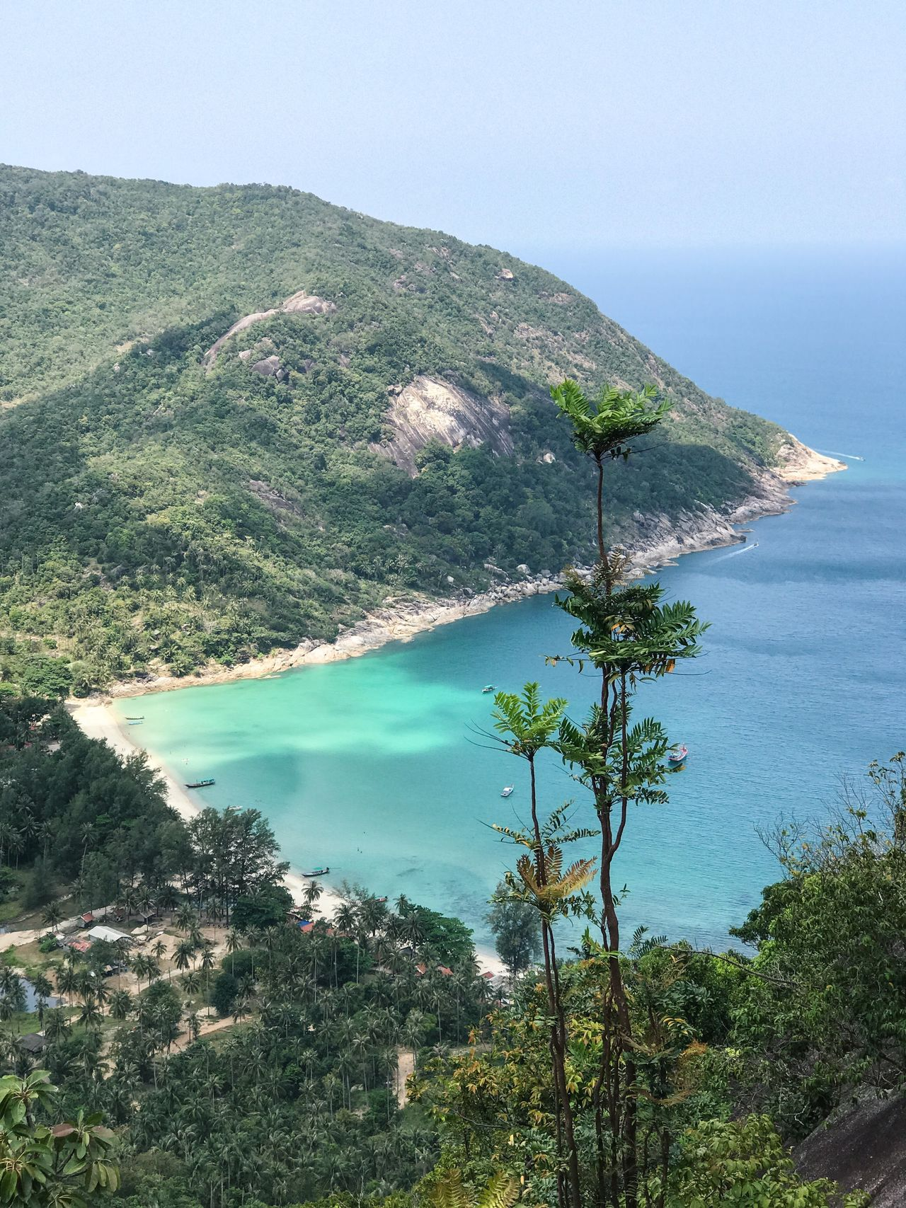 Sea Water Nature Beauty In Nature Scenics Tranquility High Angle View Tranquil Scene No People The Great Outdoors - 2017 EyeEm Awards Outdoors Mountain Beach Tree Horizon Over Water Clear Sky Sky Landscape Hiking Trekking Beautiful View Bird Koh Phangan Thailand Jungle