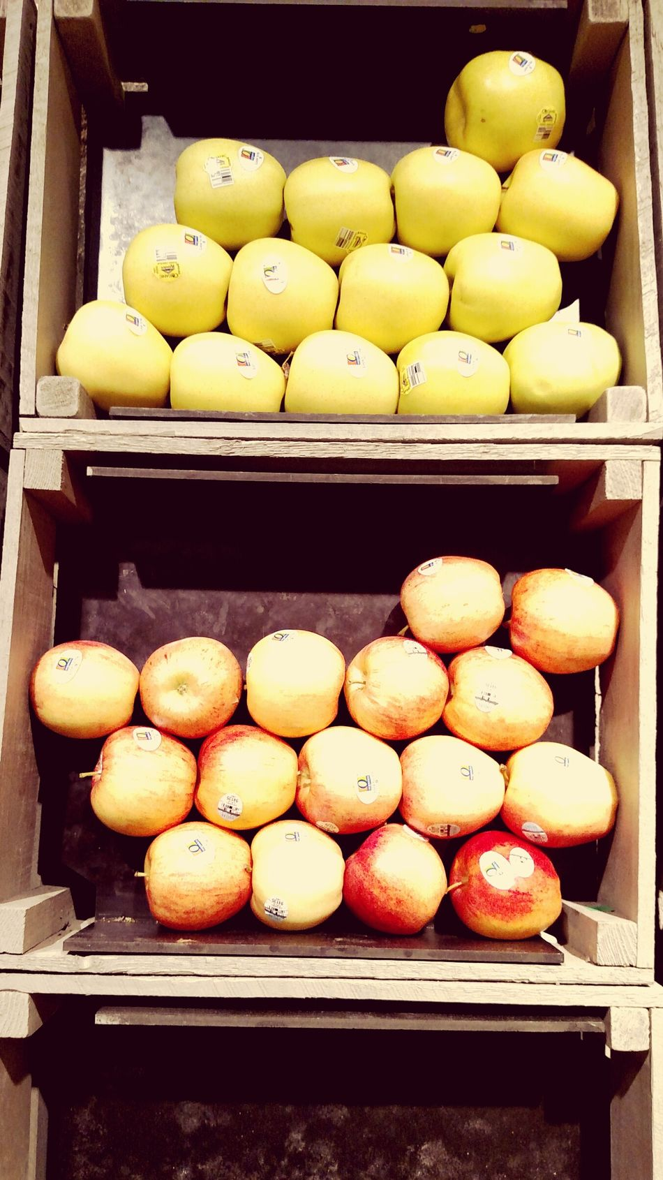 Barrel Of Apples Organic Food Yellow Red Golden Delicious Pink Lady