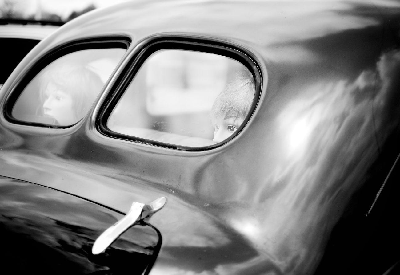 Mannequin heads in the back window of a vintage Dodge. Monochrome _ Collection EyeEmBestEdits Monochrome Photography Filmborn Fujifilm_xseries EyeEm Best Edits Wabi-sabi Vintage Cars Fuji Xpro1 Fuji X Series Dodge Classic Car Classic
