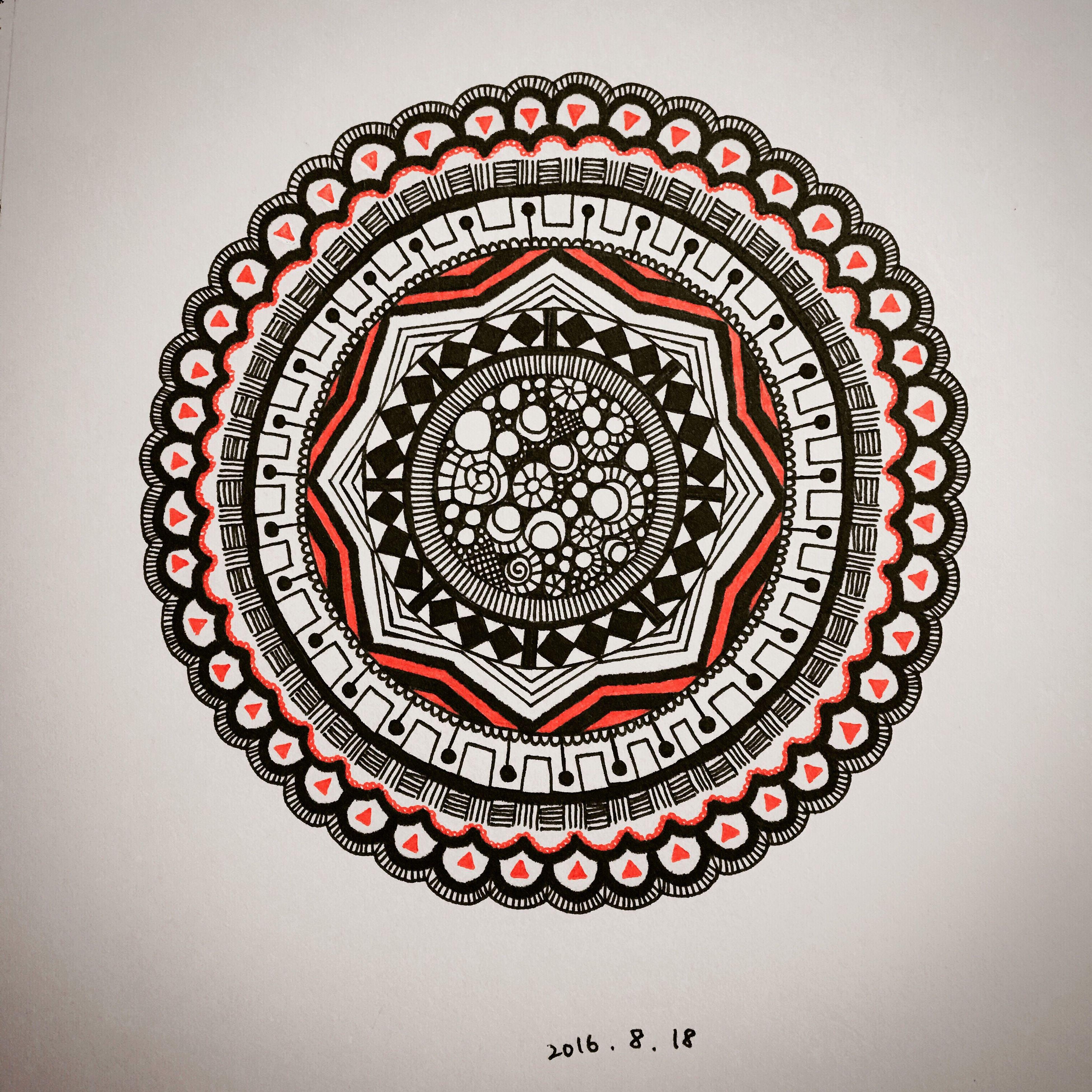 red, close-up, ceiling, design, circle, geometric shape, studio shot, architectural feature