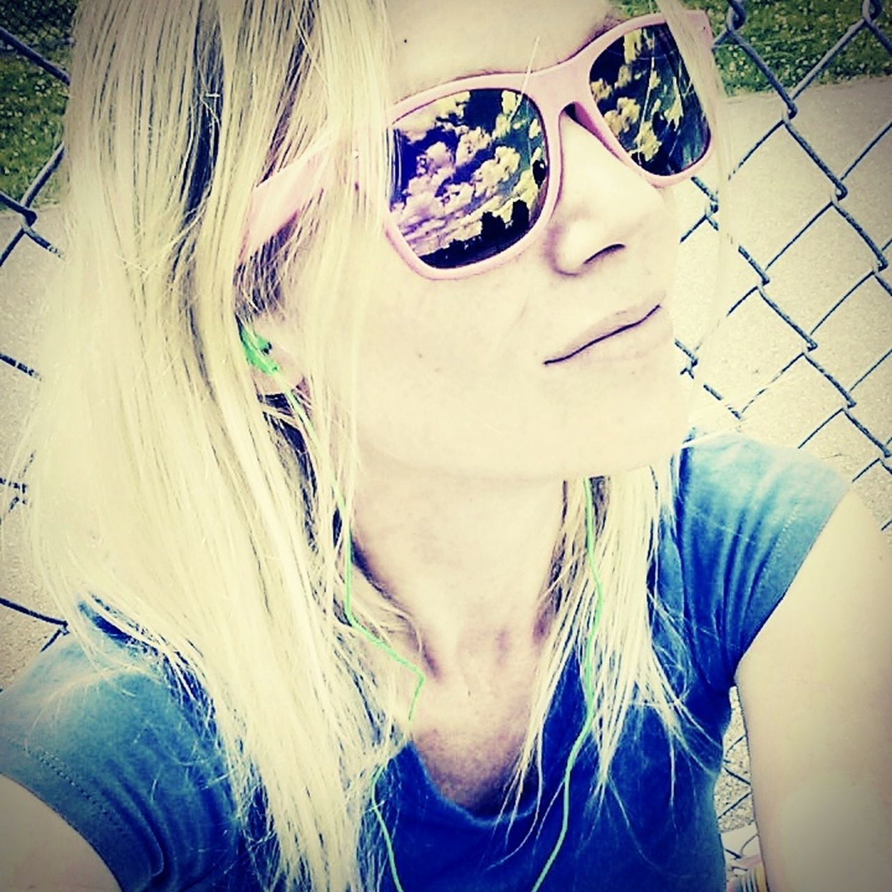 sunglasses, one person, portrait, young adult, real people, headshot, young women, blond hair, close-up, looking at camera, lifestyles, day, outdoors, people
