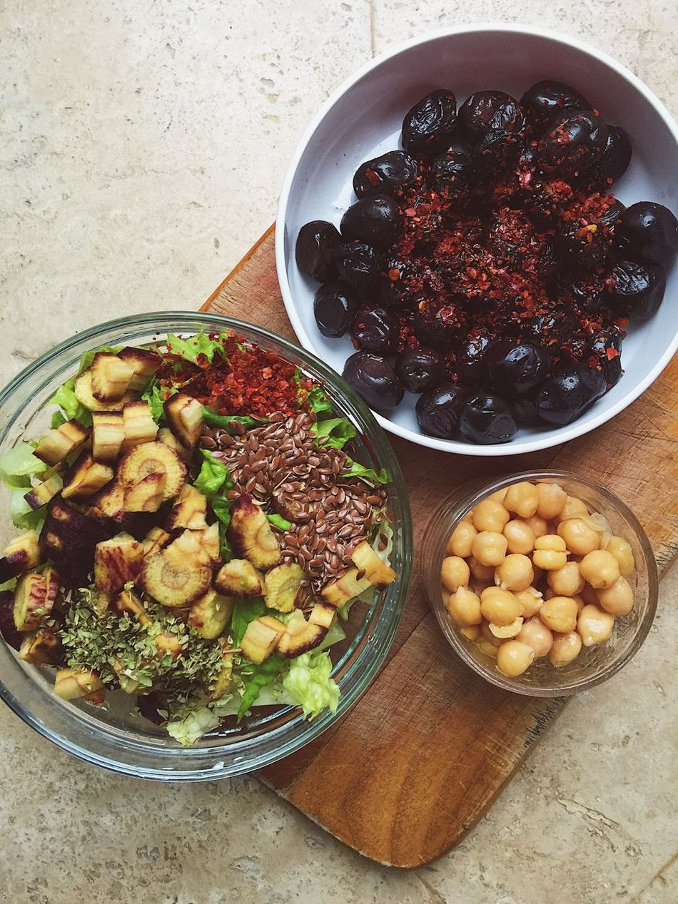 Snacks - olives, chickpeas, and vegetable salad Bowl Carrot Chickpeas Cooking Culinary Flax Seeds Food Food And Drink Foodblogger Freshness Healthy Eating Healthy Lifestyle Marmaris No People Nutrition Olives Plate Products Ready-to-eat Table Turkey Turkish Variation
