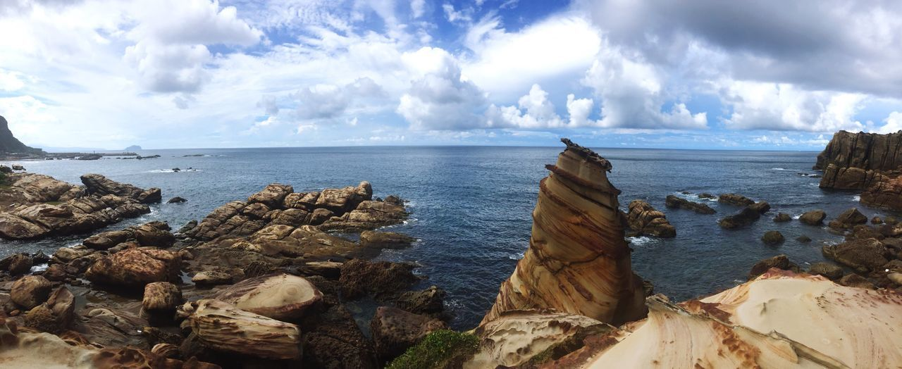Stone Formations Sea Sky Nature Cloud Nature Beauty In Nature Scenics Seascape Physical Geography Naturescreation Naturalformations Formation Natural Rocks Rocks And Water Ocean Ocean Waves Cliff Nanya Rock Nanya Stone - Object Sedimentary Rock Sediment Photography