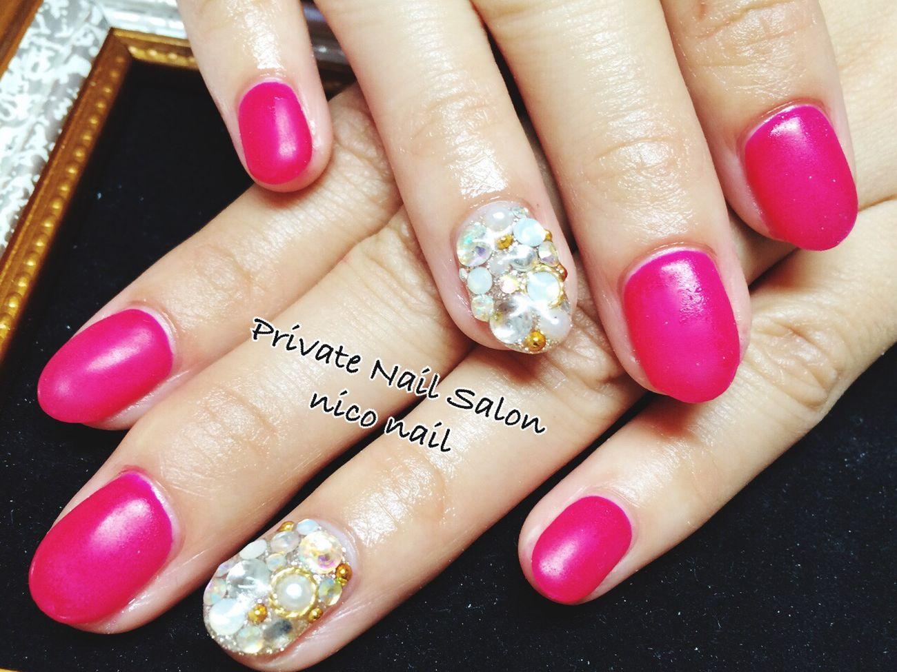 お客様ネイル 自宅ネイル Pink マットネイル シンプル 格安 スワロフスキー 可愛い