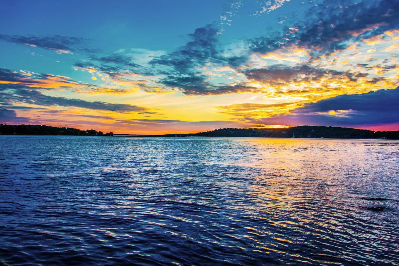 Shelterisland Longisland Sunset River Cloud Newyork Reflection Water Outdoors Sea Landscape No People Scenics Tranquility Nature Sky Multi Colored Beauty In Nature Rippled Beauty Day