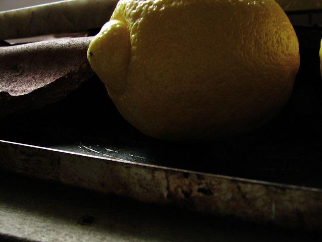 Baking Pan Close-up Food Fruit Horizontal Lemon Rusty Baking Pan Shadowy