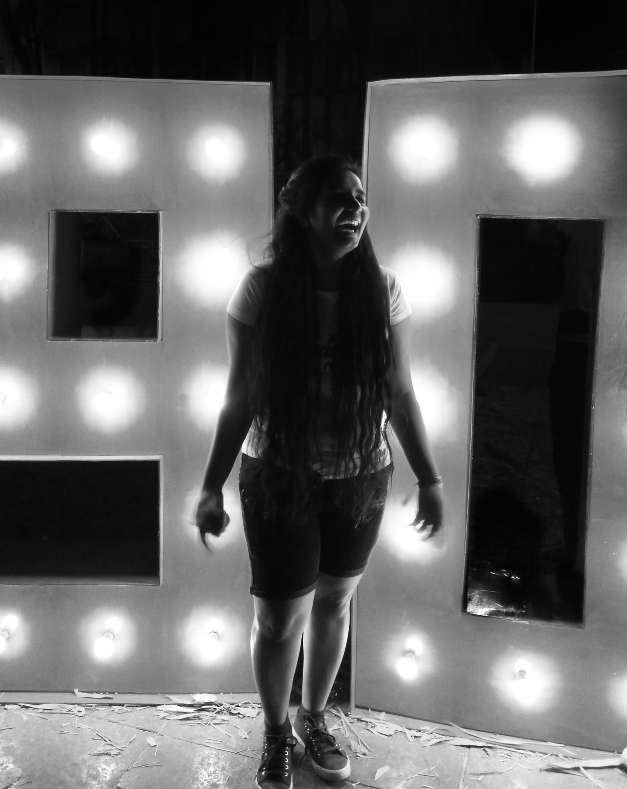 One Person Standing People Illuminated Full Length Black And White Black And White Photography Black And White Collection  Laughing Out Loud Randomshot Random Redmi Note 3