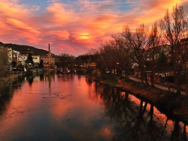 Sunset Clouds River Orange Sky IPhone